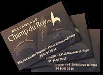 Carte de visite du Restaurant Champ du Roy à Rillieux